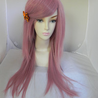 ON SALE / Rose Petal / Long Straight Layered Wig