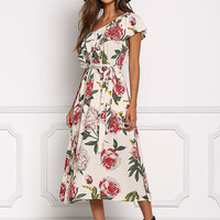 Cream Floral Gauze One Shoulder Midi Dress