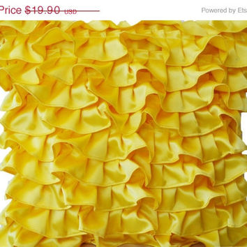 Memorial Day SALE Decorative pillow in Yellow Satin with Ruffles- Decorative cushion cover - Ruffle throw pillow - Ruffle throw cushion - Gi