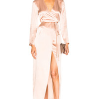 ThePerfext FWRD Exclusive Elyse Wrap Dress in Pink | FWRD