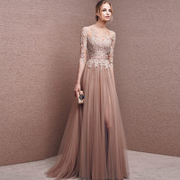 2016 Modest Champagne Backless Tulle Evening Dress Lace Appliques Formal Party Gowns Vestido De Fiesta Mother of the Bride Dress