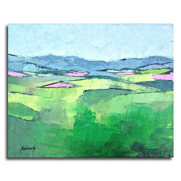 "Down the Hill - Original mini abstract landscape oil painting, textured - green, light blue, orange - Ready to Hang - 9,4"" x 11,8"""