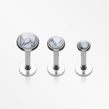 3 Pcs Pack of Assorted Size Howlite Internally Threaded Steel Labrets