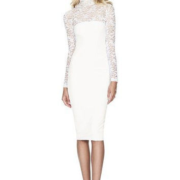 Nookie Rebel Heart High Neck Midi Bodycon Dress - White