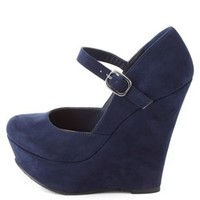 Mary Jane Platform Wedge Pumps by Charlotte Russe