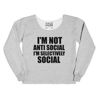 i'm not anti social i'm selectively social-Heather Grey T-Shirt