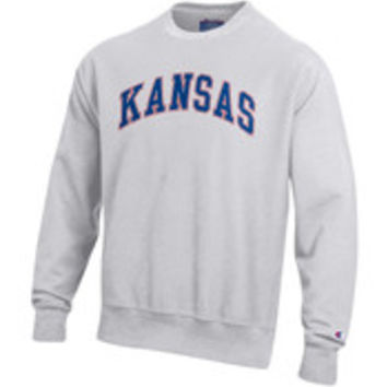 Champion Kansas Jayhawks Mens Red Arch Mascot Long Sleeve Crew Sweatshirt - 14752095