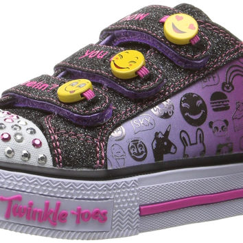 Skechers Twinkle Toes: Chit Chat-Prolifics Light-Up Sneaker Emoji Black/Lavender Little Kid (4-8 Years) 2 M US Little Kid '