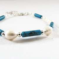 Turquoise and Pearl bracelet , semi precious gemstone blue and white bracelet, silver plated , elegant classic style uk seller