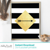 Gold Diamond Arrow on Black & white Stripe background—Modern Home Decor 8x10 Printable—Trendy Geometric Minimal Simple Design Wall Art
