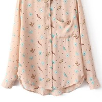 Bird High-low Button-up Shirt - OASAP.com