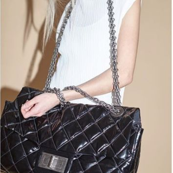 Chanel Black 2.55 Reissue Quilted Patent Vinyl XXL Flap Bag [Offers Welcome!]