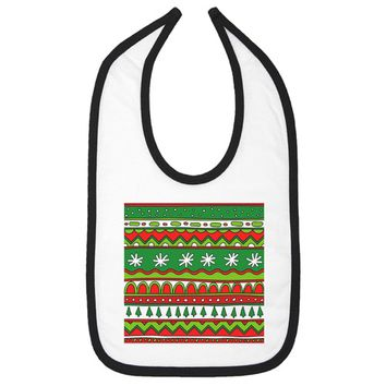 Ugly Christmas Sweater Aztec Theme Infant Bib - White