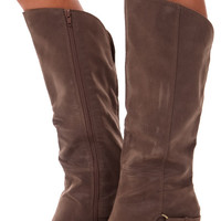 Taupe Suede Overlay Boot