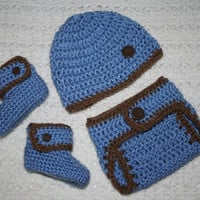 Boys Baby Blue and Brown Baby Diaper Cover, Hat and Booties Set- Baby Shower Gift,