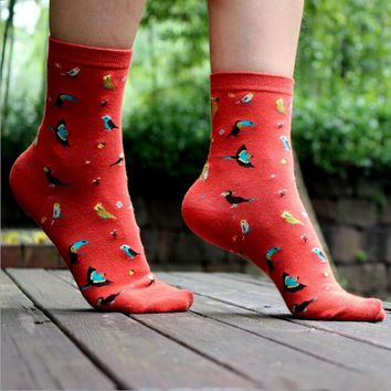 Cartoon Birds Socks Funny Crazy Cool Novelty Cute Fun Funky Colorful