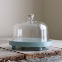 Vintage seamist blue wood cheese display tray with glass by dudads