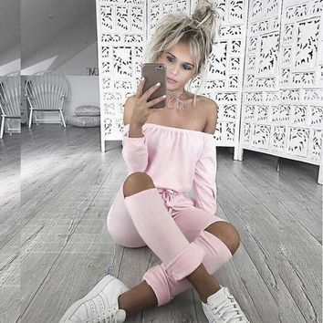 DCCKHY9 Autumn Women Sexy Long Sleeve Slash Neck Black Bodycon Elegant Jumpsuit Hollow Out Long Rompers Casual Playsit Winter Overalls