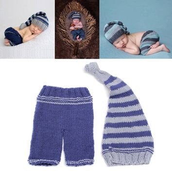 Newborn Baby Girls Boys Crochet Knit Blue Hat Shorts Costume Photo Props Outfit