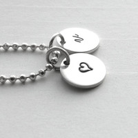 Initial Necklace with Heart Charm, Sterling Silver Jewelry, Initial Pendant, Initial Charm, v Charm Necklace, All Letters, Small Initial,