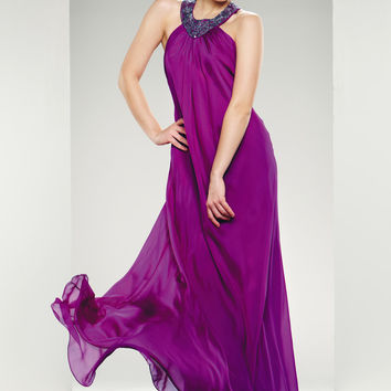 Theia Evening Long Dress T Back Strap Beaded Silk Chiffon
