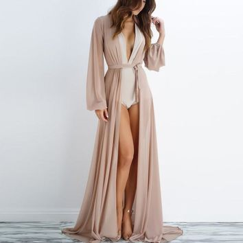 Hot Newest 2017 Summer Long Sleeve Maxi Dress Sexy V Neck Bow Tie Beach Dress Cover ups ZL3314