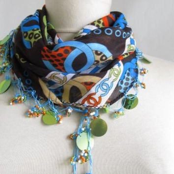 Christmas gift -Brown- Blue scarf Turkish oya scarf .lace scarf asuhan 2013