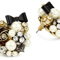 Betsey Johnson Simulated-Pearl and Black Bow Button Stud Earrings:Amazon:Jewelry