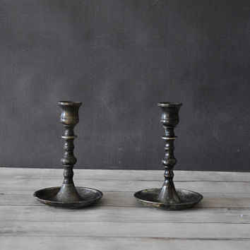 English Candlesticks/ Pewter Candlesticks/ Wedding Candlesticks/ Vintage Candlesticks/ Made in England/ Rustic Candle Holder/ pair/ romantic