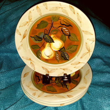 A Set of Four Zrike Glazed Pottery Ceramic Salad / Luncheon Plates Golden Pair Pattern Hand Painted Made in Italy