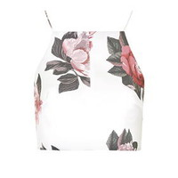 **Floral Crop Top By C/MEO COLLECTIVE - Ivory