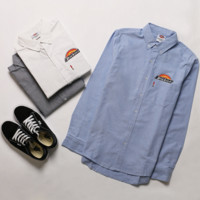 Dickies T-shirt for teenagers Men Oxford Spinning Solid Shirt Casual Blue