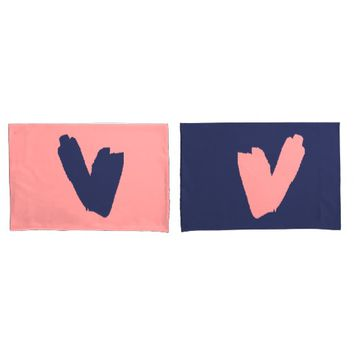 Pink and Blue Hearts Pillow Case Set