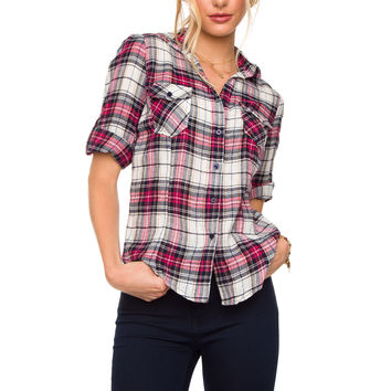 Pretty In Plaid Top - Pink