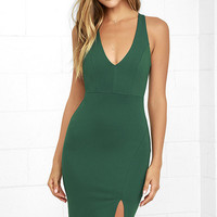 Gathering Glances Forest Green Bodycon Dress