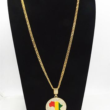 Africa Map With Ethiopian/Rasta Colors Chain Necklaces
