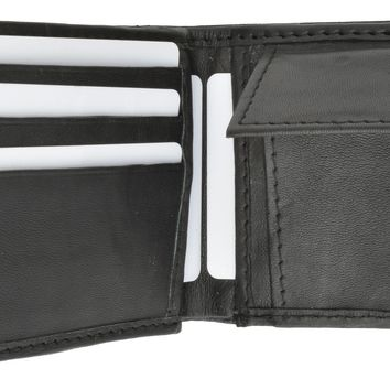 Mens Soft Leather Bifold Card Holder Wallet W/Outside Double ID Windows & Coin Pouch 1659