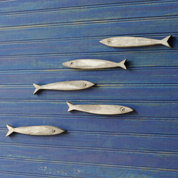 Minnow Fish School Set of Five Fishes Smelt Sardines Guppies Wooden Fish School