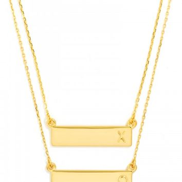 XO Initial Bar Pendant Set