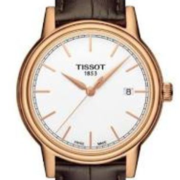 Tissot Carson White Dial Brown Leather Mens Watch T0854103601100