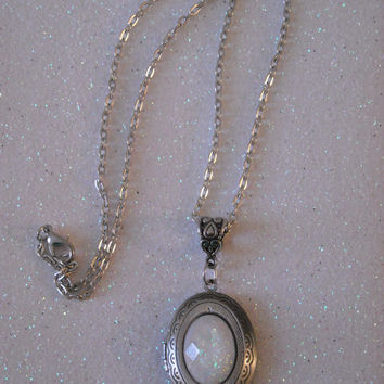 White Opal Cabochon antique silver locket pendant necklace