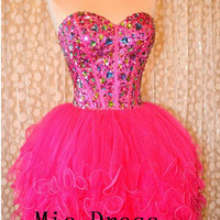 New arrival sweetheart mini fuchsia organza with crystal beading short Prom/Evening/Party/Homecoming/Bridesmaid/Cocktail/Formal Dress