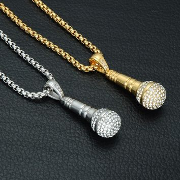 Iced Out Music Microphone Pendant Necklace