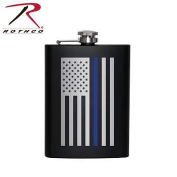 Stainless Steel Thin Blue Line Flag Flask
