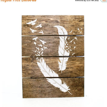 ON SALE - Ready to Ship - Feather and Bird pallet sign - Indie home decor, gifts for her, pallet sign, rainbow decor, bird design, reclaimed