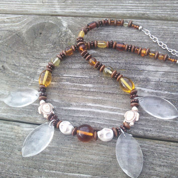 Beaded Wood Necklace, Hippie Necklace, Boho Necklace, Stone Turtle Jewelry, Gypsy Wiccan Pagan necklaces, LARP Cosplay,Sugar Skull Brown