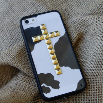 Country Chic studded cross iPhone 4/4S and 5 case with bumper