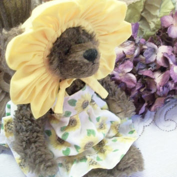 "Sunflower Teddy Bear Vintage TY Stuffed Animal Collectible Brown Plush 8"" Jointed Bear You Are My Sunshine Keepsake Gift"