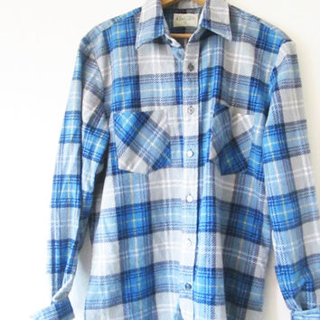 Vintage 1980s Blue Plaid Flannel Men's Store Button Down Shirt Sz M