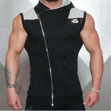 2016 New Brand Cotton Hoodie Sweatshirts Fitness Clothes Sport Tees Shirt Bodybuilding Tank Top Men Brand Clothing Exercise Vest